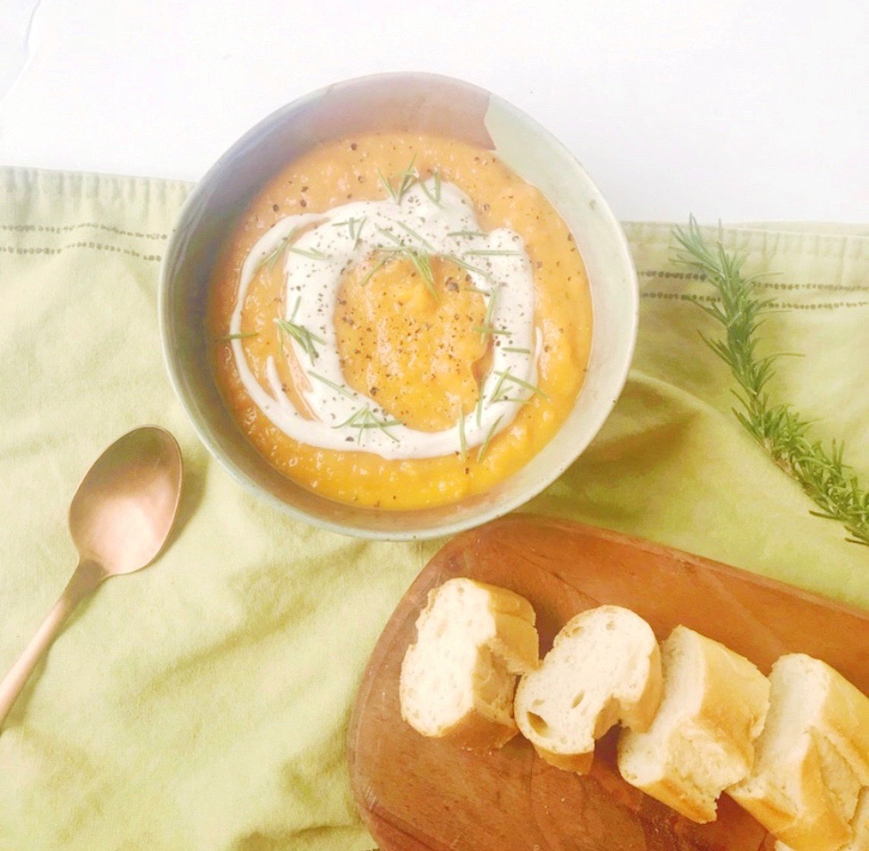 Roasted Sweet Potato & Carrot Soup with Cashew Creme